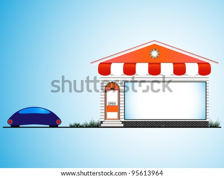 shop house and car, abstract art illustration