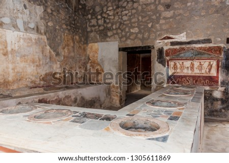 Shop in the Ruins of Ancient Pompeii Italy