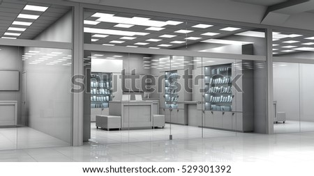 Shop in the shopping center, view from the windows. 3d image. Without people.