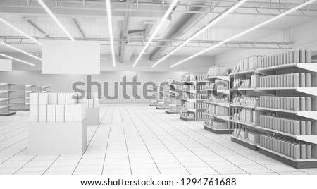 Shop Interior With Shelves and Banner. 3D render