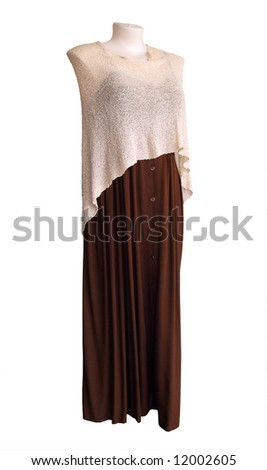 Shop Mannequin wearing a brown dress & Shawl, isolated with clipping path