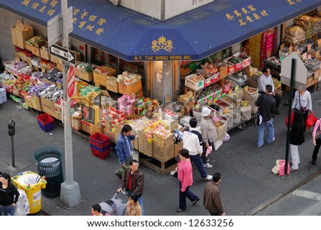 Shop on the corner in chinatown, New York