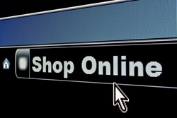 Shop Online concept on an internet browser URL address