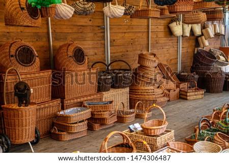 Shop sells wicker baskets on the street - Baskets merchant Dealer