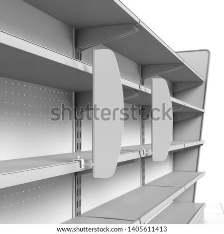 Shop Shelves With Shelf-Stopper Banner. Vertical Wobbler Attached To Supermarket Shelf.  3D rendering
