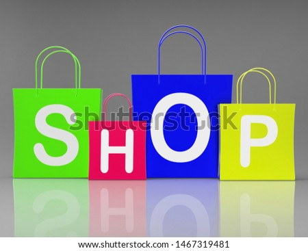 Shop shopping bags show retail market sales trading. Buying products online - 3d illustration
