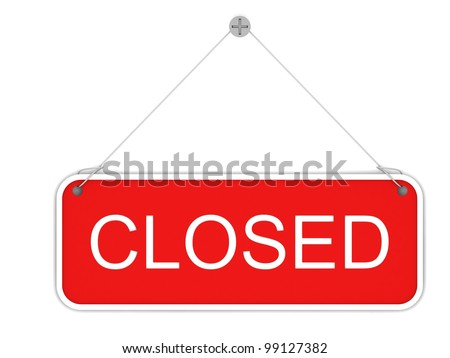 shop sign closed on white background