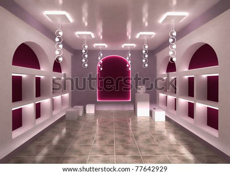 Shop Store Interior Background with empty shelves for your products. With Cashier.