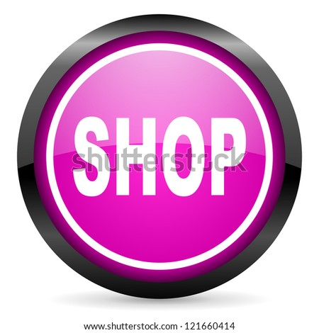 shop violet glossy icon on white background