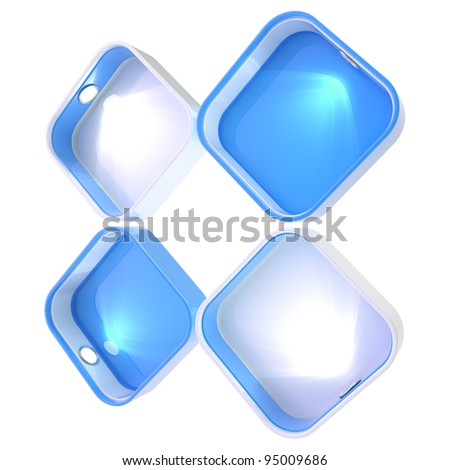 Shop window copyspace showcase with backlight illumination, set of four isolated on white