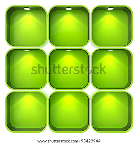 Shop window copyspace showcase with backlight illumination, set of nine isolated on white