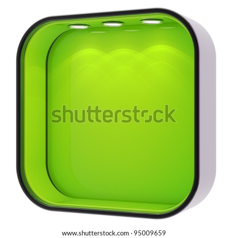 Shop window copyspace square green and black showcase with backlight illumination isolated on white