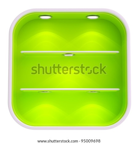 Shop window copyspace square green and white showcase with backlight illumination and shelf isolated on white