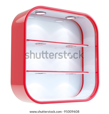 Shop window copyspace square red and white showcase with backlight illumination and shelf isolated on white