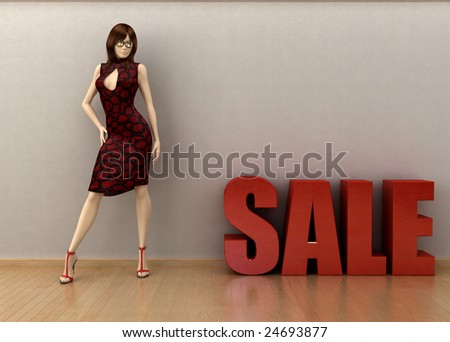Shop window featuring a mannequin and a 3D SALE motif. - stock photo