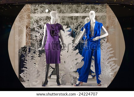 shop window with clothed mannequins