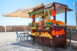 Shop with fresh fruits  juices in Akko, (Acre), Israel
