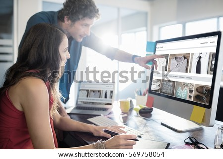 shop with style homepage against business people working together