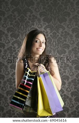 Shopaholic fashion woman colorful bags retro dark gray wallpaper