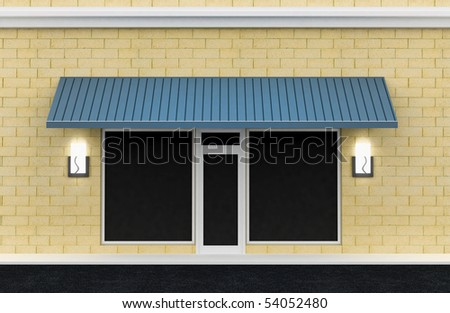 Shopfront. Building exterior shopwindow with awning and windows empty for your product presentation, paste your shop, boutique, commercial.