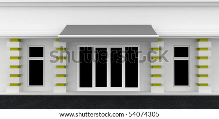 Shopfront wall. White Gray building exterior shopwindow with awning and windows empty for your product presentation, paste your shop, boutique, commercial. Place for your text above awning.