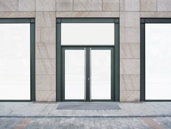 Shopfront with large windows. Shop Boutique store with Place for Name