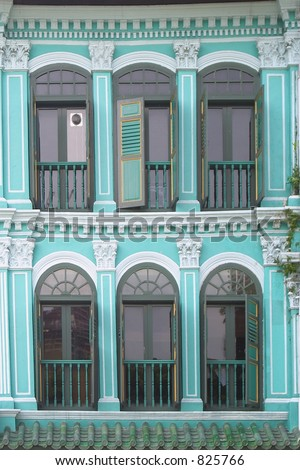 Singapore Picture House on Shophouse Windows In Chinatown  Singapore Stock Photo 825766