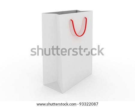 Shoping bag on white background, 3D images