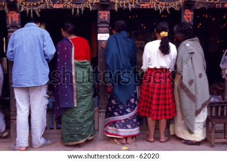 Shoppers at a shop in Kathmandu
