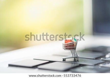 Shopping and e-commerce concept. Close up of miniature shopping cart toy figure on laptop computer