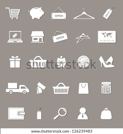 shopping and electronic commerce web icons set with shadows. raster version, vector file also available in gallery