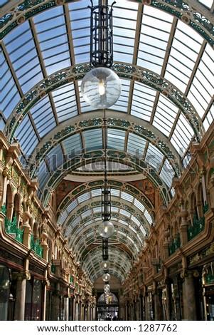 Shopping arcade in Leeds UK