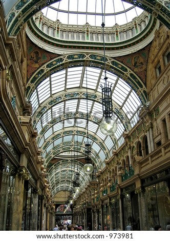 Shopping arcade in Leeds UK