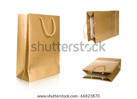 shopping bag collection isolated on white