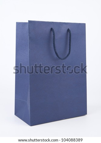 Shopping bag isolated on white background ,blue paper bag.