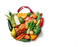 Shopping bag made from different fruits and vegetables. Top view.