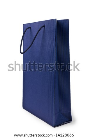 shopping bag made from recycling blue paper