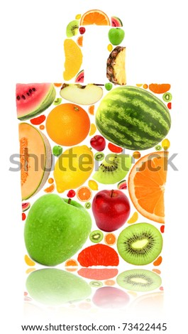 Shopping bag made of fruit isolated on white