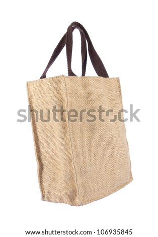 Shopping bag made out of recycled Hessian sack with forming over white background
