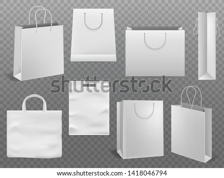 Shopping bag mockups. Empty handbag white paper fashion bag with handle 3d realistic isolated template