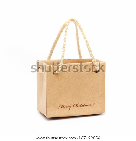 Shopping Bag of presents on white background.