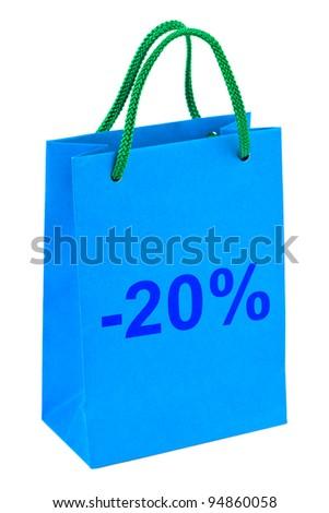 Shopping bag 20 percent isolated on white background