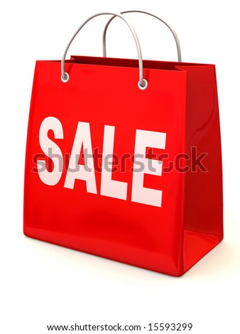 Shopping bag. Sale. 3d