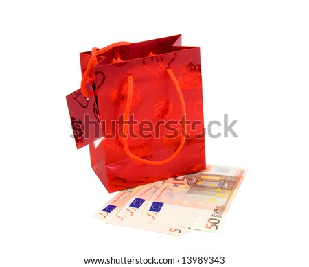 Shopping bag with euro banknotes.
