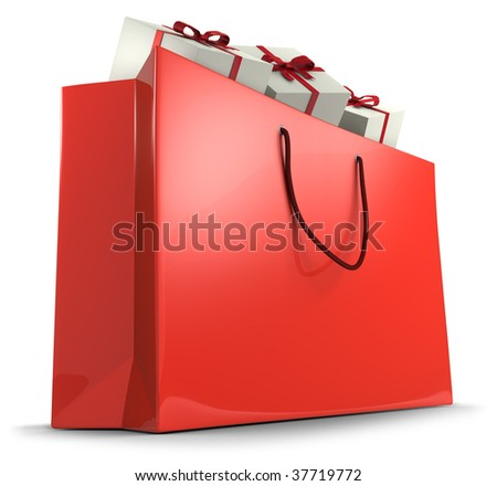 Shopping bag with gifts (3d illustration)