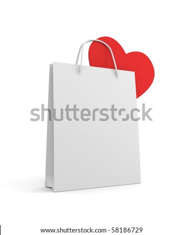 Shopping bag with heart - stock photo
