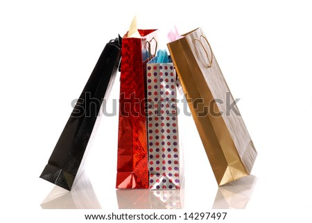 shopping bags against white background