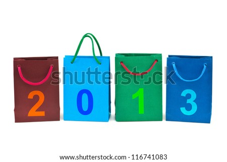 Shopping bags and numbers 2013 isolated on white background