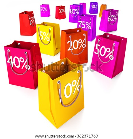 Shopping bags from five to ninety percentages and marketing