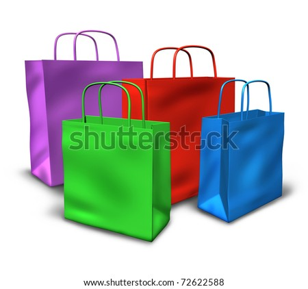 Shopping bags in a group with multi colors representing sales and retail purchases at stores and shops.